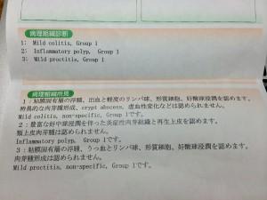 大腸内視鏡病理組織検査結果