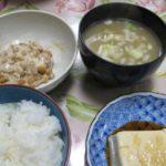 少し血が出ましたが大豆三昧(納豆、豆腐、味噌汁)-クローン病食事100322