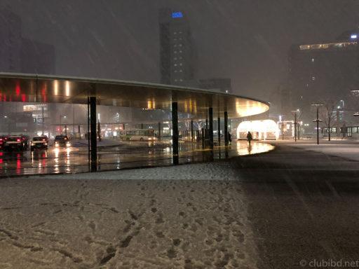 雪の富山駅