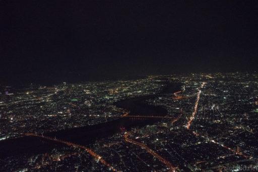 JAL機内から大阪の灯