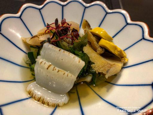 蒸し鮑、平貝、イカの酢の物
